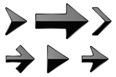 Illustration pour Black arrows. Shiny 3d glass icons. Vector illustration isolated on white background - image libre de droit