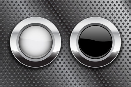 Illustration pour White and black buttons on metal perforated background. Round glass icons with chrome frame. Vector 3d illustration - image libre de droit
