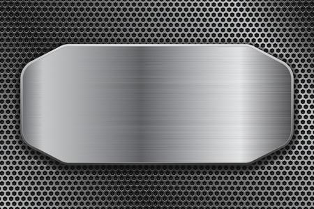 Illustration pour Brushed metal plate on perforated background. Vector 3d illustration - image libre de droit
