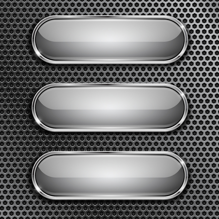 Illustration pour Oval glass buttons with chrome frame on metal perforated background. Vector 3d illustration - image libre de droit