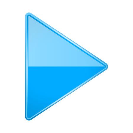 Illustration pour Blue shiny 3d arrow. Play icon. Vector illustration isolated on white background - image libre de droit
