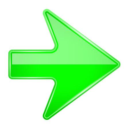 Illustration pour Green shiny 3d arrow. Vector illustration isolated on white background - image libre de droit