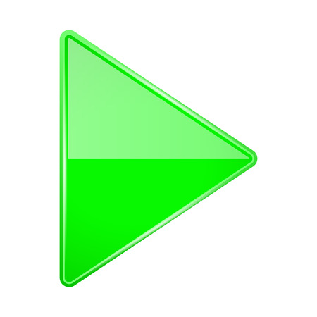 Illustration pour Green shiny 3d arrow. Play icon. Vector illustration isolated on white background - image libre de droit