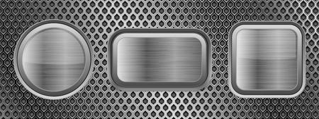 Illustration pour Metal buttons on perforated texture. Vector 3d illustration - image libre de droit