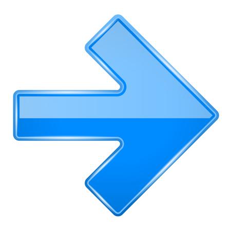 Illustration pour Blue shiny 3d arrow. Vector illustration isolated on white background - image libre de droit