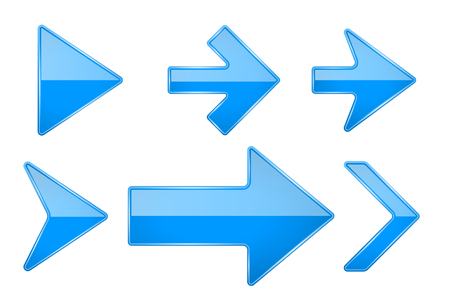 Illustration pour Blue arrows. Shiny 3d glass icons. Vector illustration isolated on white background - image libre de droit