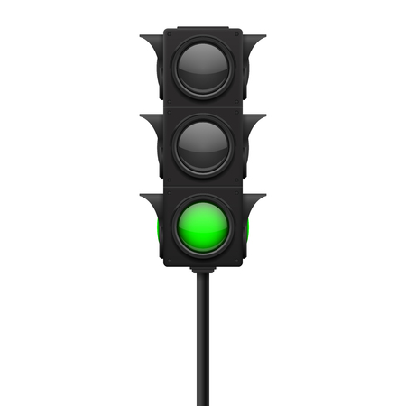Illustration pour Traffic lights. Green lamp ON - traffic allowed. Vector 3d illustration isolated on white background - image libre de droit