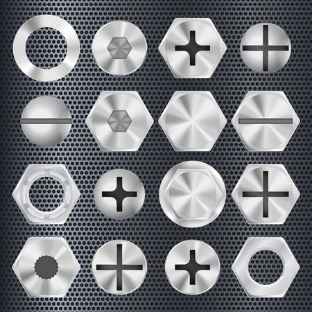 Illustration pour Metal bolt drive head. Industrial part. Vector 3d illustration - image libre de droit