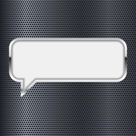 Illustration pour Speech bubble. Metal 3d icon on perforated background. Vector illustration - image libre de droit