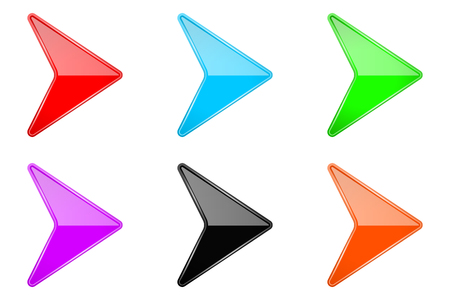 Illustration pour Colored shiny 3d arrows. Glass web icons. Vector illustration isolated on white background - image libre de droit