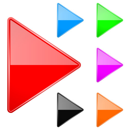 Illustration pour Colored shiny 3d arrows. Play icons. Vector illustration isolated on white background - image libre de droit