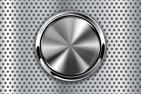Illustration pour Metal perforated background with round button. Vector 3d illustration - image libre de droit