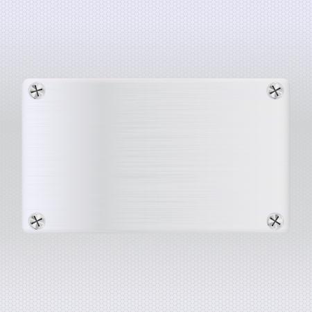 Illustration pour Metal perforated background with square steel plate. Vector 3d illustration - image libre de droit