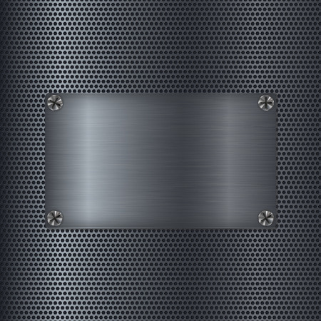 Illustration pour Metal perforated texture with square steel plate. Vector 3d illustration - image libre de droit