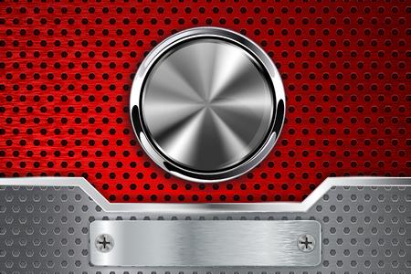 Illustration pour Red perforated background with chrome round button. Vector 3d illustration - image libre de droit