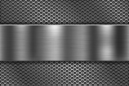 Illustration pour Perforated background with long metal shiny plate. Vector 3d illustration - image libre de droit