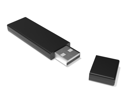 Foto de USB flash drive. 3d rendering illustration isolated - Imagen libre de derechos