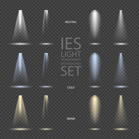 Illustration pour Light Effect Spotlight with Transparent Background Set - image libre de droit