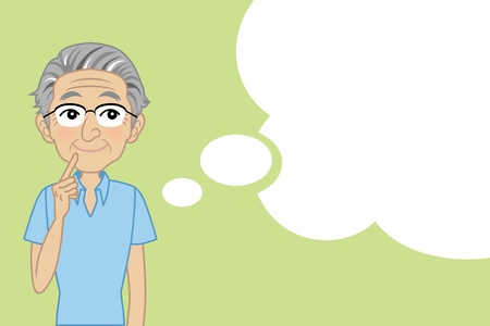 Illustration for Senior male thinking with Speech bubble - Royalty Free Image