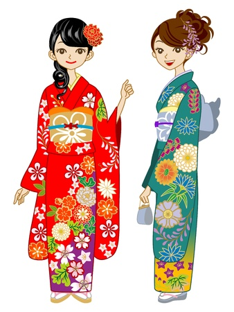 Two young women wearing Kimono