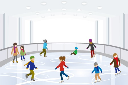 Illustration for People Ice Skating in indoor Ice Rink - Royalty Free Image