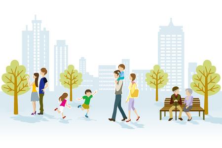 Illustration pour People in Urban park - image libre de droit
