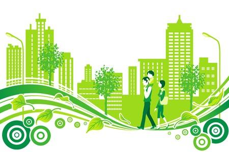 Ilustración de Family in City Life, Environment - Imagen libre de derechos