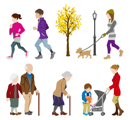 Ilustración de Various People Activity in Autumn - Imagen libre de derechos