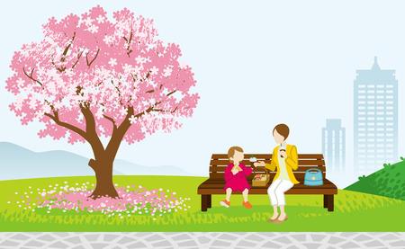 Illustration pour Mother and Child Picnic in Spring park - image libre de droit