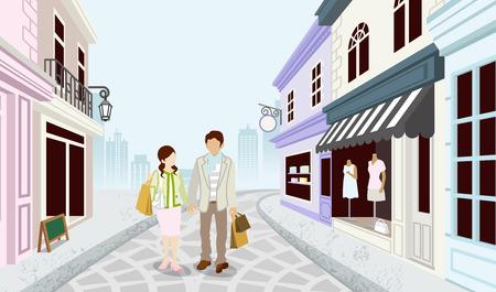 Illustration pour Shopping couple in Old fashioned town - image libre de droit