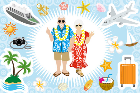 Illustration for Senior couple Summer vacation set - Royalty Free Image