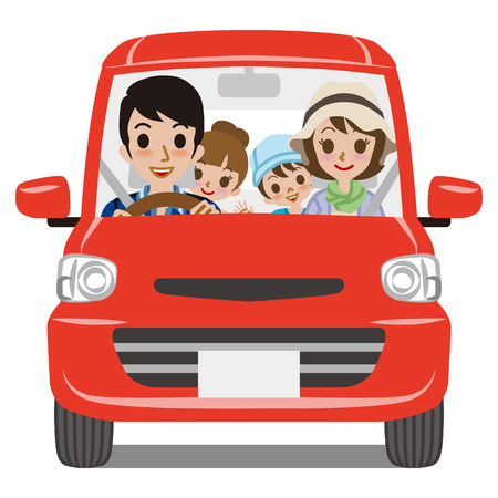 Foto per Family Car Driving  Front view - Immagine Royalty Free