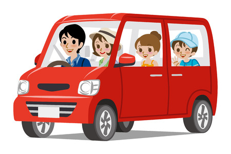 Illustration pour Family Car DrivingSide view - image libre de droit