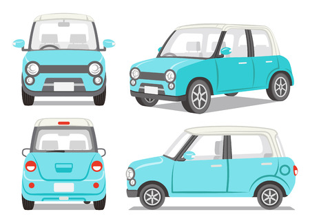 Illustrazione per Light blue car four angle set - Immagini Royalty Free