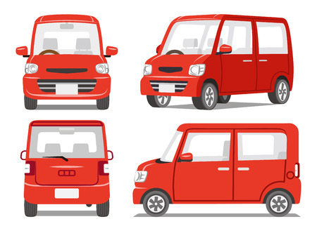 Illustration for Red car four angle set - Royalty Free Image