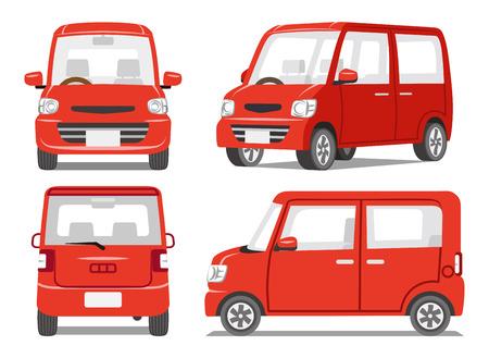 Ilustración de Red car four angle set - Imagen libre de derechos