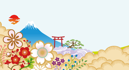 Mt.Fuji and Japanese flowers