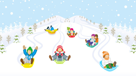 Illustration pour Sledding kids in snowy mountain - image libre de droit