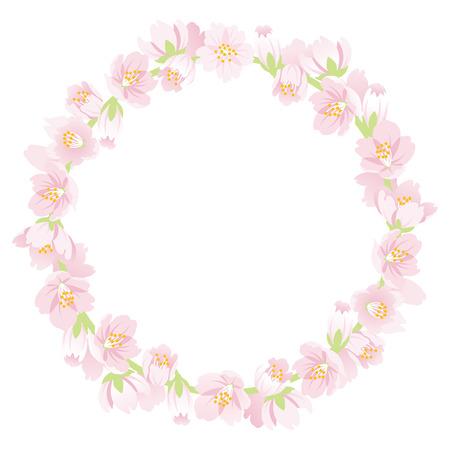Ilustración de Cherry Blossom Wreath Isolated - Imagen libre de derechos