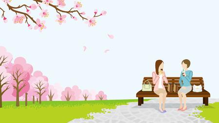 Illustration pour Two women lunch in the spring park - image libre de droit