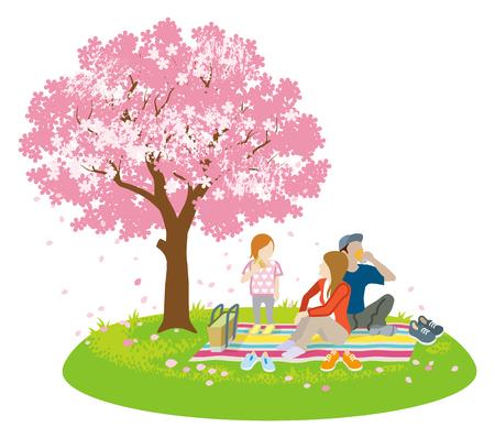 Illustrazione per Family picnic in spring nature -Clip art - Immagini Royalty Free