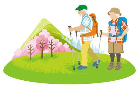 Illustrazione per Climbing Senior couple Clip art - Immagini Royalty Free