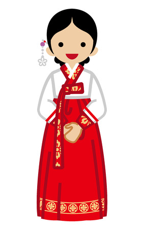 Illustration for Korean woman wearing traditional clothing, Front view illustration. - Royalty Free Image