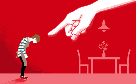 Illustrazione per Housewife who is pointed by the huge hand - Domestic violence concept art - Immagini Royalty Free