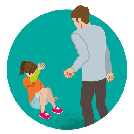 Illustrazione per Elementary aged girl who is threatened by the adult man - Child abuse concept art - Immagini Royalty Free