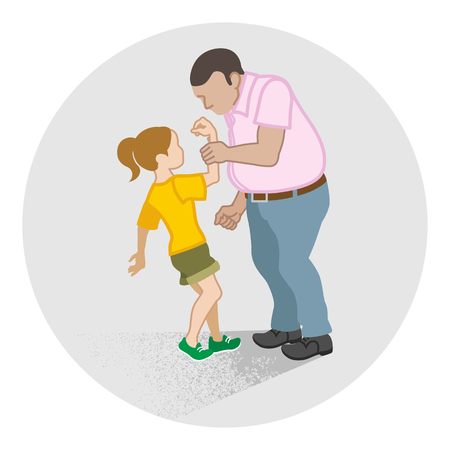 Illustration for Little girl who is grabbed her arm by the adult man - Child Abuse concept art - Royalty Free Image