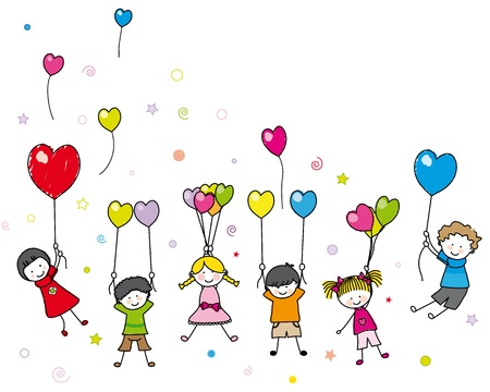 Illustration for birthday card. children playing with balloons - Royalty Free Image
