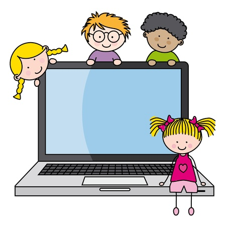 children with a computer  Funny vector, isolated on white background