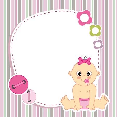 Ilustración de Baby girl card  Space for photo or text - Imagen libre de derechos
