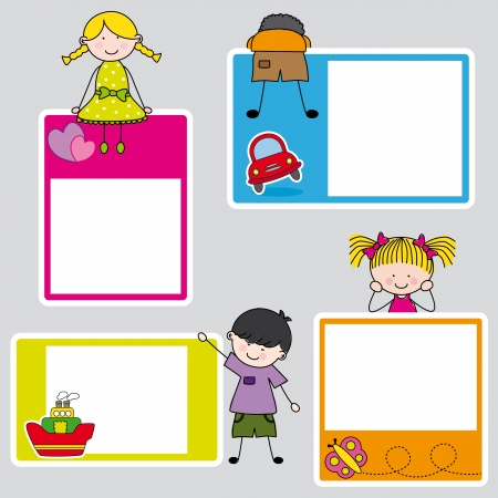 Illustration pour Children s picture frame for girl and boy  - image libre de droit